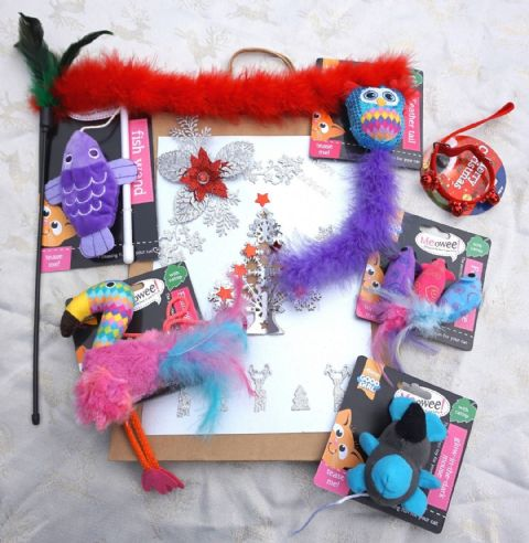 CHRISTMAS CAT GIFT BAG WITH A SELECTION OF MEOWEE CATNIP CAT TOYS & XMAS COLLAR